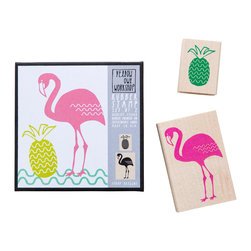 Yellow Owl Workshop - Flamingo Pineapple Stamp Set - Set of two natural rubber stamps with thick cushion, each mounted on a maple block.