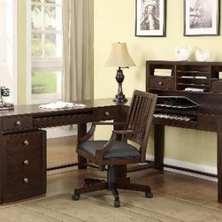 Wynwood - Wynwood Burton L Desk with Hutch and Drawer Pedestal in Warm Cherry - Fit all of your office needs into this Burton L Desk with Hutch and Drawer Pedestal by Wynwood Furnitures. Combining subtlety and function, this group includes a 48 desk and hutch, 56 desk, corner table,and three drawer pedestal. If youre looking for a straight forward place to get your work done, this piece is perfect. It provides plenty of leg room and a keyboard slot to keep your work area as clear as possible. The hutch adds six shelves and two drawers for organizing your papers and office clutter while the file cabinet and desk bring their own additional five drawers. The warm cherry finish will accentuate your home office and blend well with any tone. Keep your office area orderly and work hard with help from this L Shaped Desk group.
