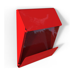 Decorpro - X Press Mail Box in a Red Finish - Decorpro has combined steel and glass into a beautiful functional X Press mailbox. Designed for ease of use for you and the postman. This mailbox has a clear window to see if mail has arrived. As well, it has an extra large overhang to keep the daily newspaper dry. Made of steel and 8 mm thick piece of glass. This mailbox will be a great addition to your home for many years to come.