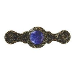 "Inviting Home - Victorian Pull (bright brass with blue sodalite) - Victorian Pull in bright brass with blue sodalite semi-precious stone 3-7/8""W x 1-1/4""H Product Specification: Made in the USA. Fine-art foundry hand-pours and hand finished hardware knobs and pulls using Old World methods. Lifetime guaranteed against flaws in craftsmanship. Exceptional clarity of details and depth of relief. All knobs and pulls are hand cast from solid fine pewter or solid bronze. The term antique refers to special methods of treating metal so there is contrast between relief and recessed areas. Knobs and Pulls are lacquered to protect the finish.  Blue Sodalite Semi-Precious stone. Blue Sodalite is a royal blue colored stone that usually has some white or gray-colored streaks. Blue Sodalite looks a bit more crystal-like. It was named by Professor Thomas Thompson who was called in to identify the specimen that was brought from Greenland to Denmark during the time of the Napoleonic wars - he identified it at first as Sodium Aluminum Silicate Chloride. The stone is associated with the Astrological sign Sagittarius and is thought to promote focus clearing mediation and calming of fears. Victorian Jewel pulls and knobs will allow you to have so much fun with the design. The pulls and knobs come in five different kinds of semi-precious stones: Black Onyx Tiger Eye Blue Sodalite Red Carnelian and Green Aventurine. You can even use all of the different colors of the semi-precious stones on one cabinet facade which would give it an eclectic and playful look."