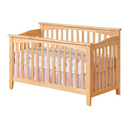 Atlantic Furniture - Atlantic Furniture Columbia Convertible Crib in Natural Maple Finish - Atlantic Furniture - Cribs - J98305 - Designed to adapt to the needs of a growing child Atlantic cribs convert from a crib to a day bed and then a full size bed. All cribs are manufactured with solid Eco-Friendly hardwood. Steel fasteners and solid hardwood construction exceeds industry standards for safety. Mortise and tennon side panel construction provides unsurpassed strength and durability. Our five step finishing process is non-toxic and lead free. Each crib has a 5 position adjustable mattress support system and converts to a full size bed with the addition of a bolt on metal bed frame.