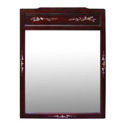 China Furniture and Arts - Rosewood Mother of Pearl Motif Mirror - Beveled in rosewood with hand inlaid mother of pearl flower motif all along the mirror frame. This rectangle rosewood mirror easily fits a variety of decorative styles. To hang in the bedroom, bathroom or hallway. Hand applied rich cherry rosewood finish enhances the beauty of the mother of pearl inlay. Mounting brassware included.