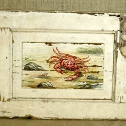 Seascape Crab On Painted Shutter - Made by http://www.ecustomfinishes.com