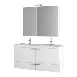 ACF - 47 Inch Glossy White Bathroom Vanity Set - Made in engineered wood and mirrored glass and ceramic and coated in glossy white.