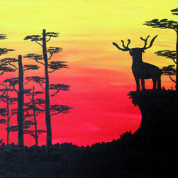 The Great Prince (Original) by Ezra Edmond - As the reds and yellows of the sunset over take the land, the Great Prince climbs to higher ground to survey his domain.