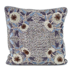 Frontgate - Lillian Decorative Pillow - Blue and gray twill. Floral applique. Jewel and sequin accents. Filled with 100% feather stuffing. Dry clean. The intricate floral applique that adorns the blue and gray Lillian Pillow will bring an elegant touch to your decor. Accented with colorful jewels and sequins, this cushion will instantly dress up a family room or bedroom.  .  .  .  .  .