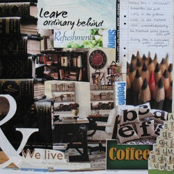 Reading & Writing (Original) by Kathleen Fallucca - This collage is a collection of words, books and implements that represent my love of reading and writing.  Currently unframed.