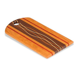 "Picnic Plus - Breggo Bread Cutting Board, Wood - Picnic Plus Breggo Bread Board, Cutting Board, Made In The USA, Wood. Color/Design: Wood; Beautifully handmade in the USA; Individually handmade by a skilled American craftsman; Designed and crafted from a variety of hardwoods such as Cherry, Maple, Walnut, Oak, Paduak, Ash and Purpleheart; Due to the construction and design of each board and the natural wood grain no two boards will be exactly alike; Support our local craftsman with your purchase of this hand crafted board; Hand wash only. Dimensions: 16""W x 7""l x 1/2""H"