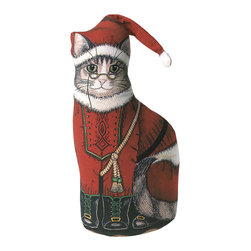 085-Santa Kitty Doorstop - Silkscreened on 100% cotton, stuffed with polyfil and weighted with plastic pellets to stay upright as a doorstop, but they also make adorable pillow accents or can be placed on window sills.  They are as stylish as they are practical. Versatile and unique accents like these also make marvelous gifts.