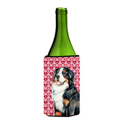 Caroline's Treasures - Bernese Mountain Dog Love Valentine's Day Portrait Wine Bottle Koozie Hugger - Bernese Mountain Dog Hearts Love and Valentine's Day Portrait Wine Bottle Koozie Hugger Fits 750 ml. wine or other beverage bottles. Fits 24 oz. cans or pint bottles. Great collapsible koozie for large cans of beer, Energy Drinks or large Iced Tea beverages. Great to keep track of your beverage and add a bit of flair to a gathering. Wash the hugger in your washing machine. Design will not come off.