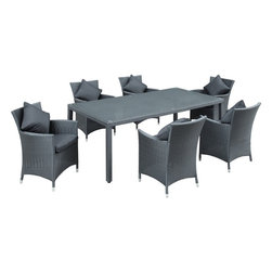 Modway - Modern Patio Furniture Panorama 7-Piece Dining Set, Black With Black Cushions - Take in the scenes with an elongated white aluminum table and six black rattan chairs with white cushions. Fill your backyard with an elevated array of dishes, entrees and desserts as your company partakes. Entertain well with this nice, modern and functional set.