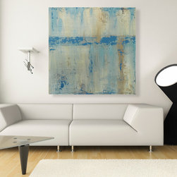 Loft Decor- Modern Abstract Painting - Modern Blue Abstract Painting measuring 32x32 inches made with High Quality Acrylic Paints and protected with two coats of semi-gloss Satin Varnish.