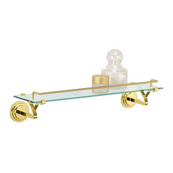 Organize It All - Wall Mounting Glass Shelf with Brass Mounts and Rail - This tempered glass wall mounting shelf with  brass mounts and rail is a beauty that will match with any bath or home decor. The tempered glass shelf can display and organize your toiletries,towels,or small decorative items.