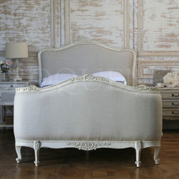 King Sophia Bed - Fog linen upholstery makes this bed a classic shade of gray.
