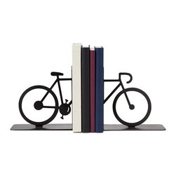 Contemporary Steel Bookends - From the misty shores of Maine to the park down the road, you never know where a good book--or bike ride, for that matter--can take you. Celebrate the journey a few pages or pedals can inspire with this charming set of bookends, handmade from carbon steel and then painted to resemble a cycling silhouette. Handmade in Brooks, Kentucky.