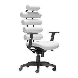 Zuo Modern - UNICCO Office Chair White - Bring a touch of elegance and style in your home or office with our UNICCO Office Chair. This Chair features leatherette cushions for a great modern look, as well as adjustable armrests and a rolling base for comfort and convenience. This modern and attractive seating is great as your office throne or as added seating in any environment.