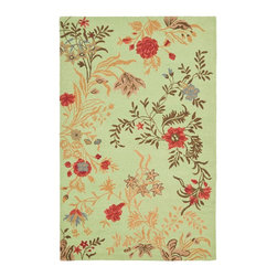 Safavieh - Country & Floral Blossom 5'x8' Rectangle Light Green - Multi Color Area Rug - The Blossom area rug Collection offers an affordable assortment of Country & Floral stylings. Blossom features a blend of natural Blue - Multi Color color. Hand Hooked of Wool the Blossom Collection is an intriguing compliment to any decor.