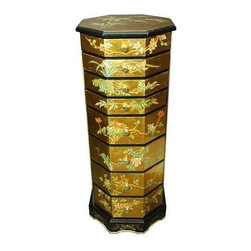 Oriental Furniture - Gold Leaf Jewelry Armoire - This eye-catching octagonal jewelry box is finish in striking 24 carat gold leaf, and features eight felt-lined drawers for your storage needs. A delicate garden design has been hand-painted on the top and across the eight sides, while the base is painted with blossoms and scrollwork. Finished in a rich, clear lacquer, this armoire will make a stunning impression in your home.