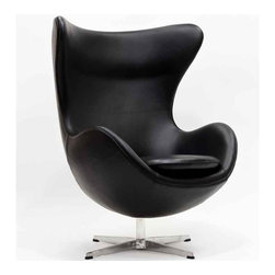 Modway - Glove Chair In Black Aniline Leather - Eei-528-Blk - High Density Foam Cushioning