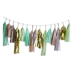 Paper Fox LA - Mint Julep Tassel Garland - This handmade tassel garland is 7 feet long and contains 20 gorgeous paper tassels attached to a metallic rope. We love the subtle elegance of this garland! The colors are mint, celery, light grey, shimmering champagne and metallic gold. Perfect for birthdays, cocktail parties, bridal showers, baby showers, home decor and more!