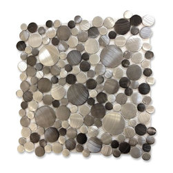 "GlassTileStore - Industrial Noir Circles Aluminum Tile - Industrial Noir Circles Aluminum Tile          Give your kitchen backsplash that stylish modern look with our Industrial Aluminum tile. Whether using this stunning tile as a back splash wall, or as an accent piece, the silver aluminum tile will give your room a classic and contemporary setting. Add a small touch of ""wow"" to any room.          Chip Size: Random Circles   Color: Silver, Gunmetal, Gray   Material: Aluminum   Finish: Brushed   Sold by the Sheet - each sheet measures 12"" x 12"" (1 sq. ft.)   Thickness: 4mm   Please note each lot will vary from the next.            - Glass Tile -"