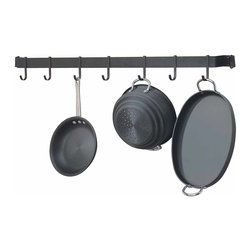 Renovators Supply - Pot Racks Wrought Iron PotRack 40'' Wrought Iron 7 Sliding Hooks - Use Shaker-style hassle-free storage racks & conveniently grab what you need without fussing in cabinets & drawers. Display gourmet crockery on one or more bars. Seven heavy-duty sliding  hooks make cooking convenient. Mounts to the wall easily, hardware included. Holds up to 50 lbs. when secured properly. Note: Dimensions may vary up to 1/2 in. due to being hand forged. Designed and made with pride in the U.S.A. by skilled craftsmen.