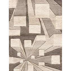 Momeni - Momeni New Wave Nw128 Concrete Rug - Newwanw128Cot26E0 - Hand-tufted by expert artisans using a special blend of the highest quality Chinese wools, these rugs have the softest of hands and a shine that is unsurpassed. Many New Wave designs feature hand carving for added depth and a Tibetan-like weave, mostly found in hand-knotted rugs, but expertly achieved in these hand-tufted pieces.