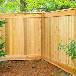The Sanford Wood Privacy Fence - Here are some some wood privacy fences installed by Fence Workshop. This style of fence is called The Sanford Wood Privacy Fence.