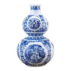 Oriental Danny - Blue and white gourd vase - Small blue and white gourd shape vase. It is great for small area display or collect several styles to make a grouping.