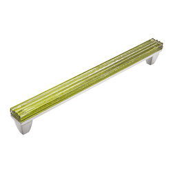 "Jazz & Riffs Hardware - Jazz - Standard Pulls, Garden Green, 12"" Length - Recycled layered glass sparkles and shines with pure, clear color [R harmonizing and moving, yet composed. Add the sparkle of jewelry to your next interior project. This distinctive hardware line was created for Hospitality Interiors, yet is perfect for fine furniture, cabinets and doors in restaurants, spas, hotels and high-end residential spaces. Due to the Artisan nature of this handmade process [R every piece of hardware is unique."