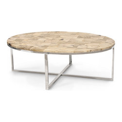 Kathy Kuo Home - Lakota Industrial Loft Petrified Wood Cream Oval Coffee Table - Intriguing and rare, petrified wood takes on the qualities of stone, sculpted into an oval shaped tabletop. The hand-crafted mosaic creates a truly unique pattern of tan, white and cream.  Four polished stainless steel angular legs form the frame of this fantastic focal point.