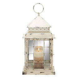 Benzara - Metal Glass Lantern with Antique Styled Design - Create a peaceful atmosphere in your house or office by lighting this stylish lantern. This amazing lantern is ideal for your any part of your living space. A metal finish completely changes the look of your decor and adds a classic antique touch. You can simply place a candle inside the lantern and set the mood right for a perfect evening with your partner. This easy to maintain lantern will instantly light up the dull and boring ambience of any place. You can also gift it to a dear one. The lantern is made from metal and glass that reflects maximum light through it brightening up your decor. Its metallic layering will keep the glass intact and durable..