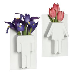 un homme/une femme vases - his 'n' hers. Conceptual vases 3-D international gender icons in matte white porcelain. Center hole for hanging.- Porcelain with matte white glaze- Watertight- Hang on wall- Made in China- See dimensions below