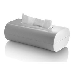 Alessi - Alessi Birillo Tissue Box - This stylish white tissue holder is the perfect addition to your modern home, whether it's sitting on a bathroom countertop or on your bedside table. Part of Piero Lissoni's home collection, which transforms ordinary essentials into extraordinary works of art.