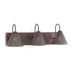 Irvin's Tinware - Crestwood Vanity Light in Americana colors, Plantation Red - A classic country lighting fixture designed to illuminate your bathroom with ease. With a hand-painted and slightly distressed wooden back with black textured arms and crimped pans, the Crestwood Vanity Light is sure to compliment your decor with any of our decorator colors.