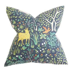 The Pillow Collection - Elihu Blue 18 x 18 Floral Throw Pillow - - Pillows have hidden zippers for easy removal and cleaning  - Reversible pillow with same fabric on both sides  - Comes standard with a 5/95 feather blend pillow insert  - All four sides have a clean knife-edge finish  - Pillow insert is 19 x 19 to ensure a tight and generous fit  - Cover and insert made in the USA  - Spot clean and Dry cleaning recommended  - Fill Material: 5/95 down feather blend The Pillow Collection - P18-ROB-FLOKLAND-ADMIRAL-C100
