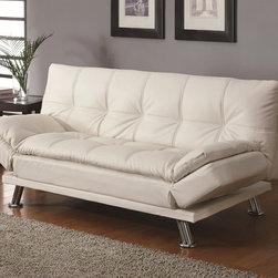 Contemporary White Sleeper Sofa Bed - This sofa bed features a smooth upholstery with a plush pillow-top seating and chrome finished legs add a unique modern look. Fold-down seat back for futon like sleeper sofa.