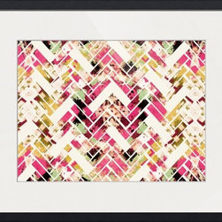 Imagekind - Wild Herringbone Pink, Framed Art Print - Nancy draws inspiration from nature, fashion, and interior design.  Hand-painted shapes and textures pulse among the buzz of digital geometries. Pop art and mod motifs incorporated with symmetry, repetition and vibrant colors create bold patterns that make for great modern wall décor in any space.