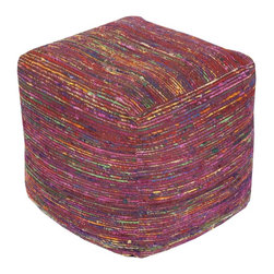 "Surya - Boho Pouf by Surya - Shades of burgundy and pinks are highlighted with strands of multiple contrasting colors artfully crafting a 100% chocho cube pouf. The firm shape has enough softness to give your feet a comfortable landing spot. (SY) 18"" cube"