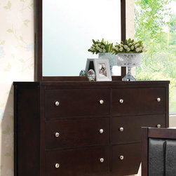 Coaster - Carlton Dresser - Give your bedroom a polished centerpiece with this upholstered bed, a modern take on a beautiful classic. Constructed from solid woods and veneers, the cappuccino finish and black vinyl cover create a subtle and cool color scheme that pairs well with all manner of room decor.