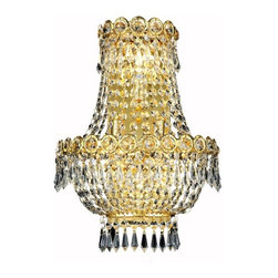 """PWG Lighting / Lighting By Pecaso - Agathe 3-Light 12"""" Crystal Wall Sconce 1615W12SG-EC - This classical Agathe Crystal Chandelier with flowing symmetrical shape and nearly invisible frame offers a striking surge of brilliant light. Sconces and ceiling mounts enhance your room decor."""