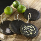 """Chalkboard Drink Dispenser Tag, Set of 4 - Never mistake the spiked punch for the lemonade again. These reusable chalkboard labels with natural jute loops suspend from the neck of drink dispensers. 4.5"""" diameter Made of painted polyresin; hangs from a 3"""" jute cord. Includes one piece of chalk. Set of 4 tags comes in a box."""