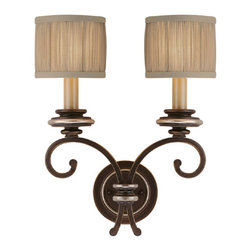 Capital Lighting - Capital Lighting Park Place Transitional Wall Sconce X-604-ZC2591 - Two beautiful scrolling arms finished in a rich Champagne Bronze hue hold up two eye-catching candelabra lights, giving a handsome but delicate look to this Capital Lighting wall sconce. From the Park Place Collection, it also features two decorative fabric drum shades that add a subtle contemporary vibe to the design.