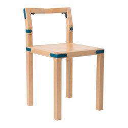 Frame + Panel - Everett Chair, Blue Hardware - The Everett Chair is a natural extension of the Leigh Stool. The low back is angled and contoured to provide support in just the right place. The well-proportioned seat is plenty comfortable too.