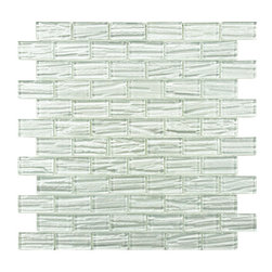 None - SomerTile 'Arbor Subway White' 12.25x12.25-inch Glass Mosaic Tiles (Pack of 10) - Renovate the look of your kitchen, bathroom or outdoor area with this classic subway mosaic tile. Constructed of glass with a unique metallic glazing, these tiles are impervious to water and make a great addition to any indoor or outdoor area.