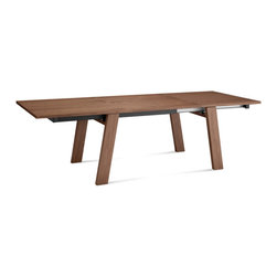 """DomItalia Furniture - Must XL Extendable Dining Table in Walnut - This table by Domitalia features a clean modern aesthetic and a lacquered steel synchronized opening mechanism for ease of use. The Must XL Walnut Rectangular Dining Table has extendable leafs to easily accommodate all your guests. The ashwood frame has splayed legs with a veneered top and leaf in walnut. The self-enclosed veneered leaf extends the top to 103.25"""" total length, comfortably seating 10-12 people."""