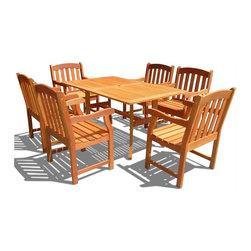 Vifah - Vifah Atlantic Dining Set with 6 Ward Armchairs - Vifah - Patio Dining Sets - V187SET27 - Enjoy sunny days outside with this Atlantic Rectangular Dining Table Set!  Dress up your patio with this inviting set featuring a large rectangular table and 6 Ward Armchairs.  With a flat rectangular top this table is versatile and convenient as well as beautiful.  The large table can easily accommodate up to 6 people making it the center of attention at outdoor barbeques parties and family or friend gatherings.  The table features an umbrella hole in the middle allowing an umbrella to be secure while shading from the hot sun or gentle summer rain. The Vifah Ward chair is beautifully constructed and durable and is slatted to allow for rain water run through.  For added comfort the chair is contoured and has rounded armrest and a straight back. The finest materials bring exceptional durability and quality to this patio furniture set.  The chairs are beautifully constructed and strong letting you spend your lazy days relaxing and enjoying food and drinks outside. Featuring beautiful FSC High Density Eucalyptus (Shorea) construction this set boasts a comfortable design that can be enjoyed for years to come. Features:FSC High Density Eucalyptus (Shorea) is pre-treated expertly kiln-dried and extremely durable for outdoor/indoor useMold mildew fungi termites rot and decay resistantEnvironmentally friendly and harvested from protected forests