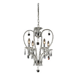 Elk Lighting - Drapersfield 4-Light Crystal Pendant Lamp in Clear and Chrome - This Drapersfield 4 light crystal chandelier lamp with clear crystal beading. An accoutrement of crystal accents transform these pendant style fixtures into sparkling gems with romantic allure. Accommodates four 40-watt candelabra base bulbs. Comes with polished chrome finish. Measures 15-inch extended length by 15-inch width by 23-inch height.