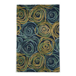Trans-Ocean - Rambling Rose Navy 5' x 8' Indoor Rug - Intricately blended tonal colors in a fresh palette combine with sweeping broad designs. Hand Tufted in India of 100% Wool, this is a great rug for any Indoor space. A unique twisted yarn adds surface texture and makes these rugs soft underfoot.
