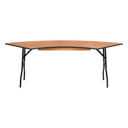 Flash Furniture - Flash Furniture 7.25 ft. x 2.5 ft. Serpentine Wood Folding Banquet Table - This semi-circular wood folding table allows you to create a serpentine, half circle or full circle table. The serpentine table allows you to create beautiful arrangements for weddings, banquets and other events. Create a serpentine table by placing two tables in alternate directions. Create a half circle or full circle by placing two or four tables together from end-to-end. When no longer needed quickly fold the legs underneath tabletop and store away until the next event. [YT-WSFT60-30-SP-GG]